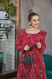 Original Design Women's Autumn Dress Sleek Minimalist Polka Dot Square Button Dress