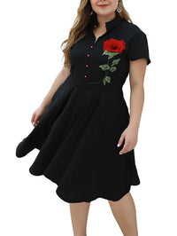 Large Size Women's Black Retro Long Embroidered Applique Short-sleeved Dress