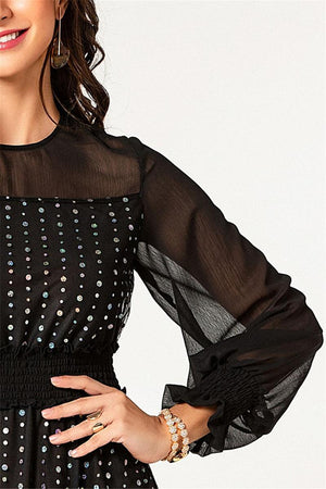 Spring and Autumn New Sexy Perspective Stitching Long Section Trumpet Sleeve Mesh Long Section