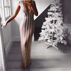 Sexy Deep V Sleeveless Sequined Perspective Dress