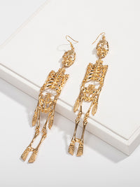 Fashion Skeleton Pendant Geometric Exaggerated Tassel Earrings