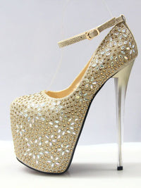 Super High-heeled Rhinestone Sexy T-stage Hate High Female Single Shoes Large Size Fish Mouth