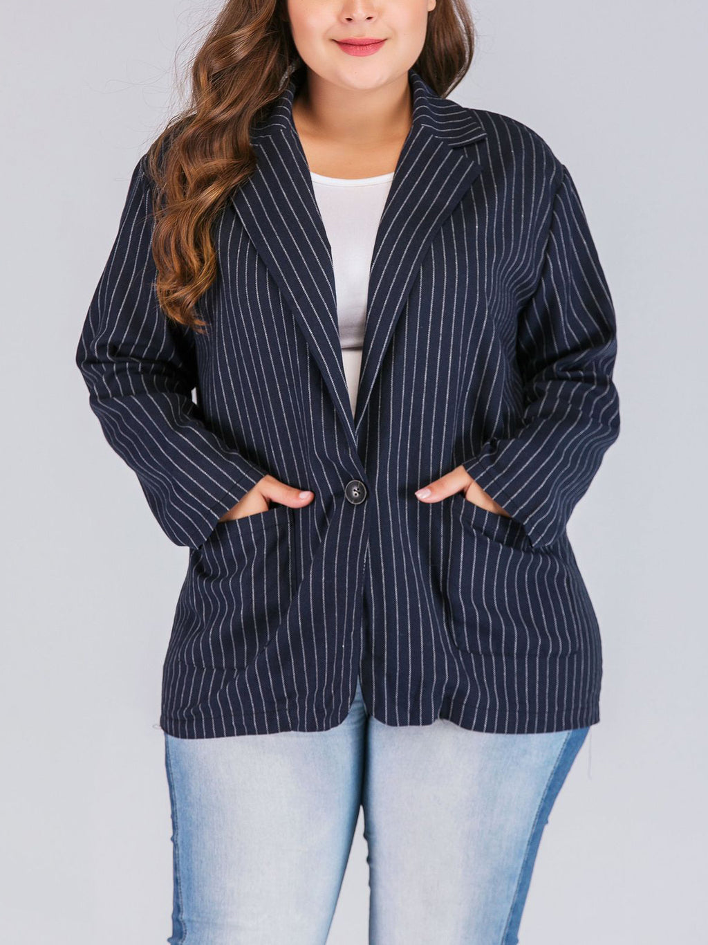 Large Size Fashion Women's Striped Long Sleeve Blazer
