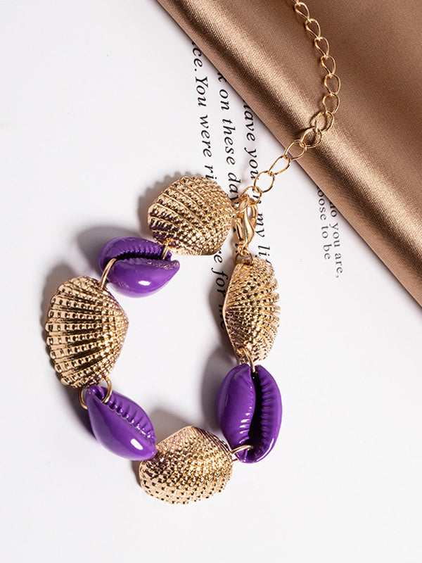 Bohemian Alloy Color Shell Scallop Braided Bracelet