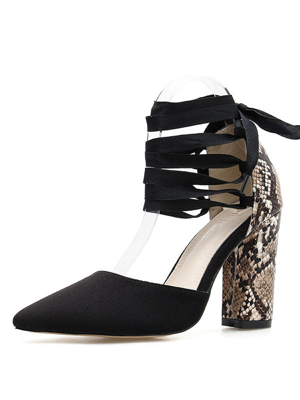 Autumn New Snake Pattern Suede Stitching Pointed Thick with Straps Fashion Sexy Women's Shoes