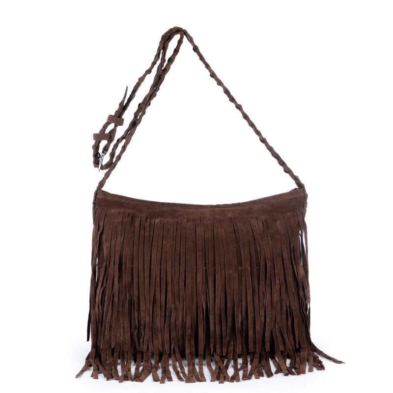 Velvet-brushed Scrub Tassel Bag Shoulder Diagonal Package