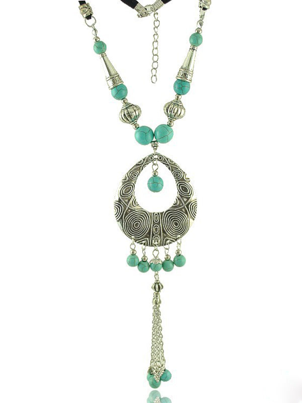 Bohemian Drop Pendant Tassel Necklace