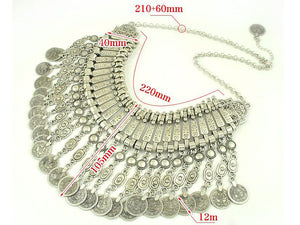 Bohemian Vintage Carved Ancient Coins Long Tassel Necklace