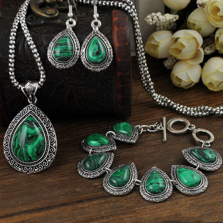 Vintage Malachite Drops Jewelry Set