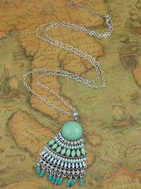Ethnic Style Long Sweater Chain Retro Necklace Bohemian Fan Pendant Necklace