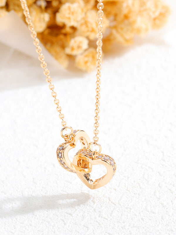 Double Heart Necklace Female Elegant Fashion Rose Gold Heart Pendant Copper Gold Plated Clavicle Chain