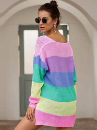 Autumn and Winter Sweaters New Rainbow Color Matching Loose Long Sleeve Pullover Sweater Women