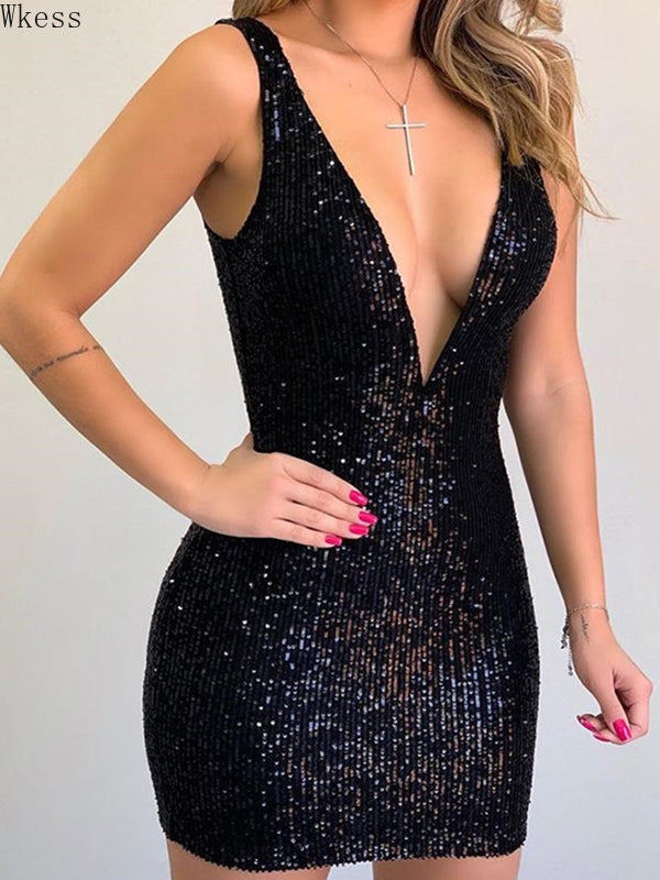 Women's V-neck Sleeveless Sexy Sequin Party Dress