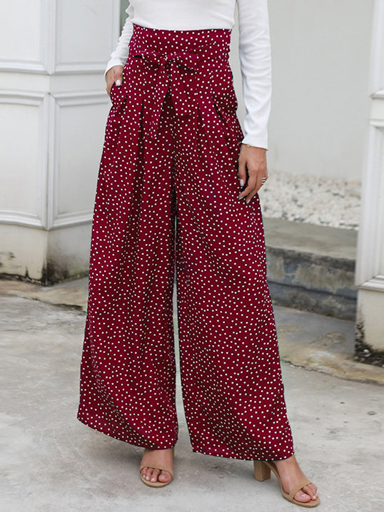 Printed Wave Point High Waist Strap Bow Wide Leg Pants