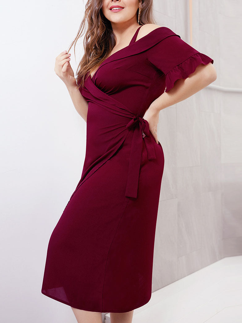 Sexy Cross Deep V Strap Short Sleeve Tie Waist Large Size Women's Dress