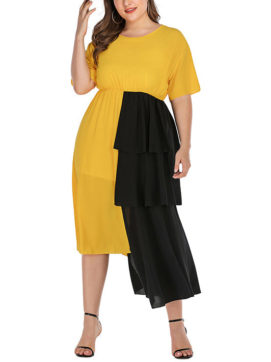 Plus Size Fashion Black and Yellow Stitching Dress