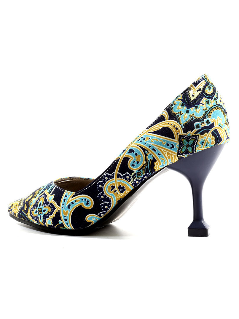 Shallow Mouth Pointed High Heel Women's Shoes National Wind Printed Single Shoes Large Size Casual Shoes