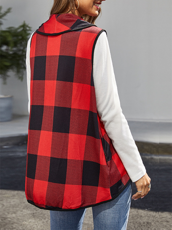 Plaid Check Vest Elegant Women's Cardigan Top