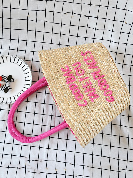 Summer Embroidered Letter Straw Bag