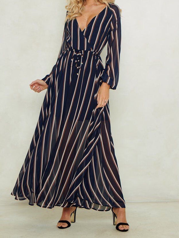 Deep V-neck Long-sleeve Striped Dress