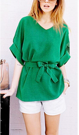 Lace-up Waist Slimming Short Sleeve Cotton Shirt