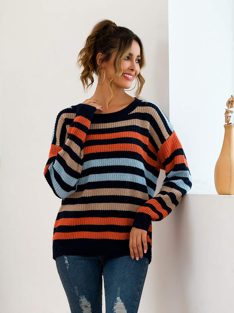 Autumn and Winter New Blue Multicolor Striped Loose Knit Sweater