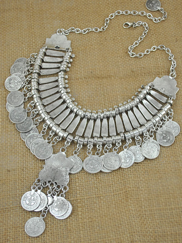 Vintage Commemorative Coin Sequined Tassel Necklace