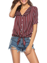 V-neck Short-sleeved Striped Shirt Top