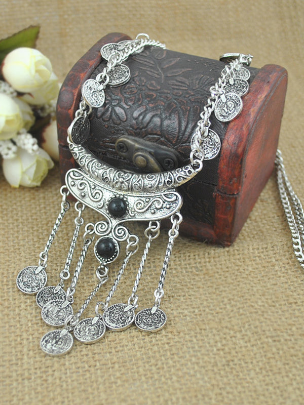 Coin Tassel Clavicle Long Necklace
