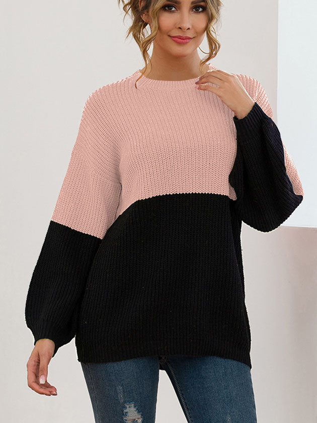 Autumn and Winter Sweaters Stitching Contrast Color Loose Lazy Wind Sweater Women's Clothing