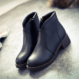 Autumn and Winter Pointed Boots with Thick Martin Boots Low Heel Women's Boots Set Feet Bare Boots