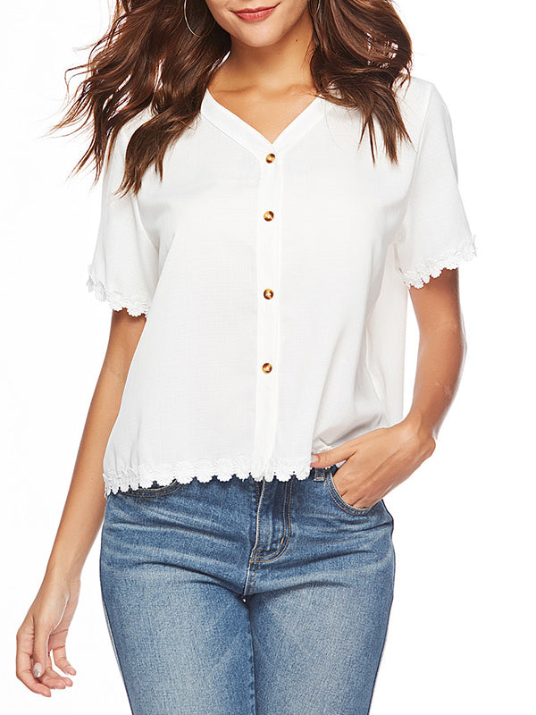 V-neck Short-sleeved Lace Stitching Shirt