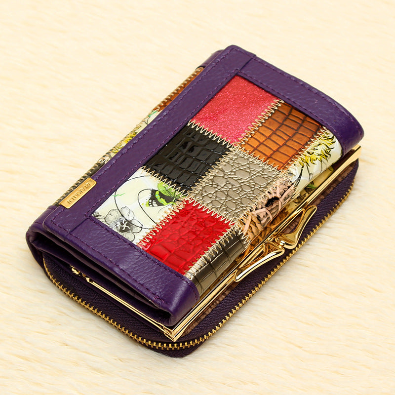 Women's Leather Wallet Leather Plaid Clutch Bag Small Wallet Fashion Handbag