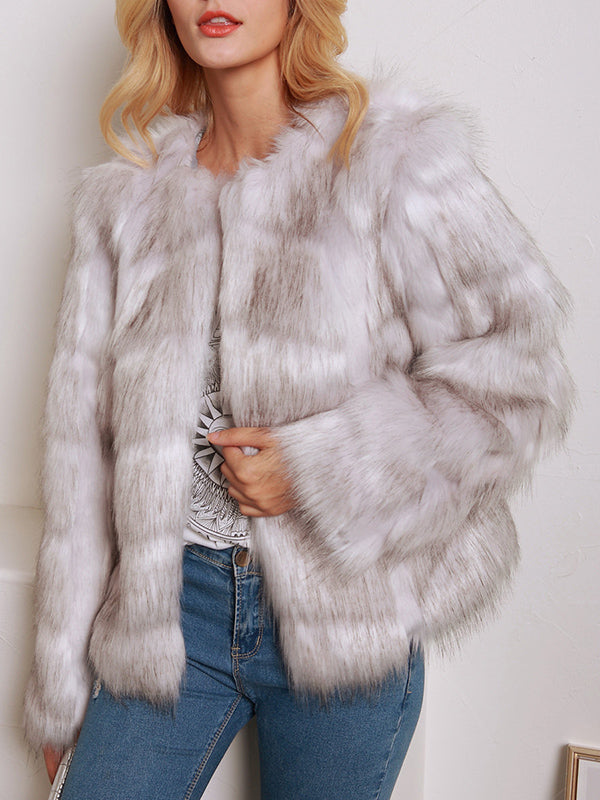 Short Round Neck Faux Fur Ladies Long Sleeve Coat