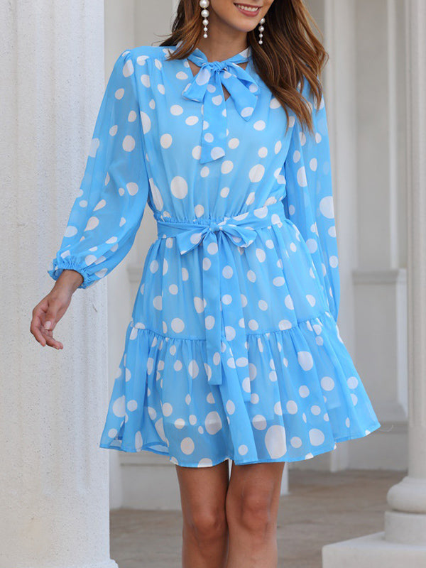 Polka Dot Printed Stitching Strap Dress