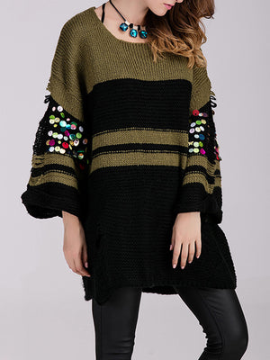 Long-sleeved Loose Striped Sequin Stitching Knit Mid-length Openwork Sweater