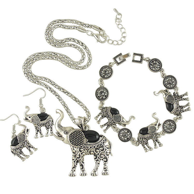 Vintage Ethnic Three-piece Suit Bracelet Earrings Necklace Small Belly Elephant Three-piece Suit