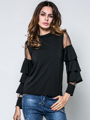 Spring New Women's Small Stand Collar Mesh Stitching Trumpet Sleeve T-shirt