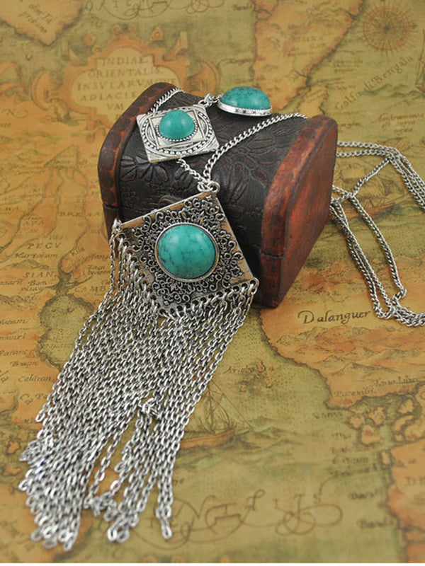 Bohemian Tassel Carved Gemstone Multi-layer Necklace