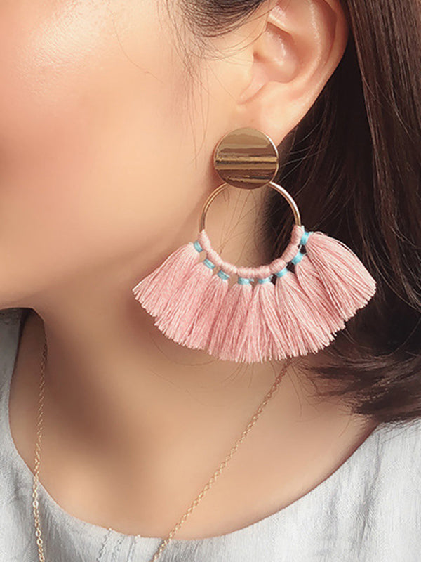Semi-circular Fan-shaped Silk Cotton Tassel Big Earrings