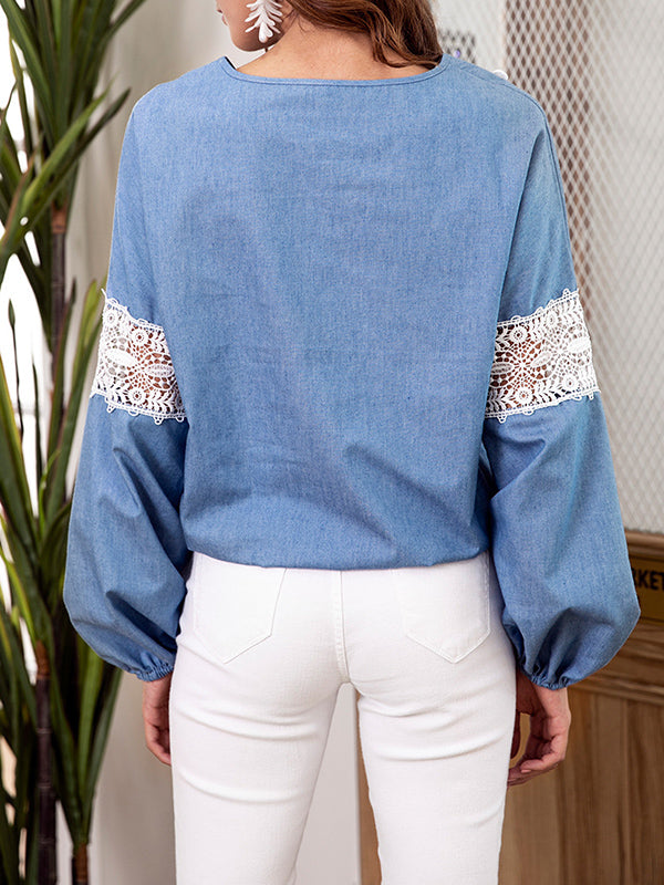 Denim Blue Top V-neck Lace Stitching Long-sleeved Shirt