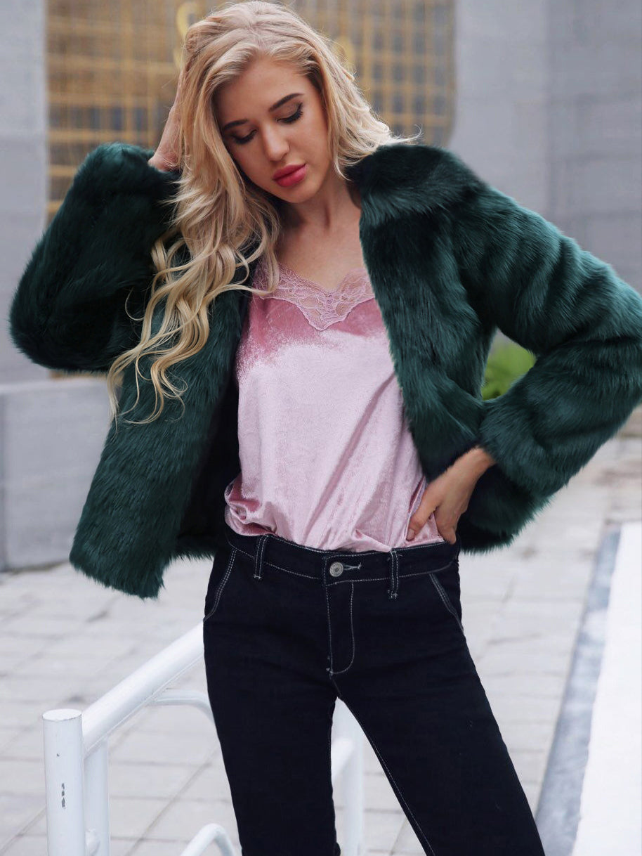Autumn and Winter New Popular Casual Lapel Faux Fur Coat