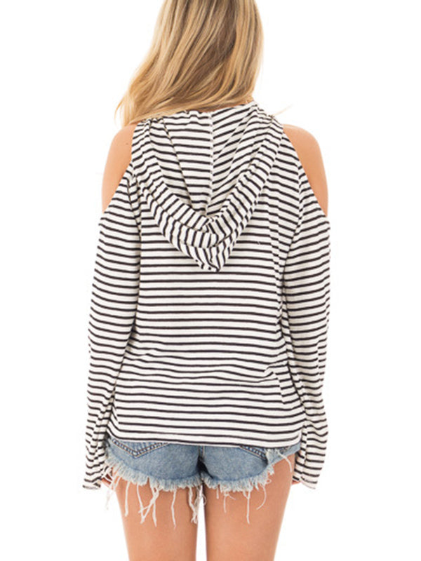 Sexy Off-the-shoulder Hooded Loose Long-sleeved Striped Sweater