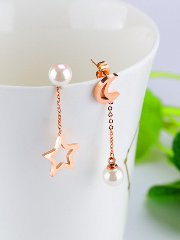 Pentagon Star Moon Asymmetric Long Earrings Temperament Pearl Earrings