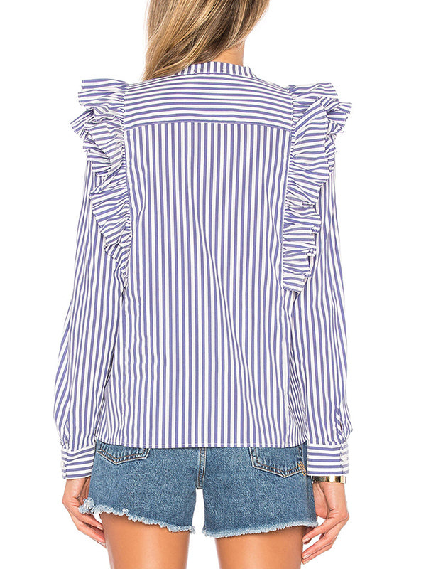Shirt Collar Ruffled Top Slim Bottoming Shirt