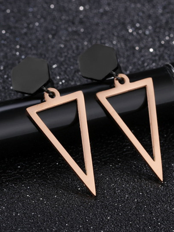 Black Fashion Temperament Geometric Round Black Openwork Triangle Earrings