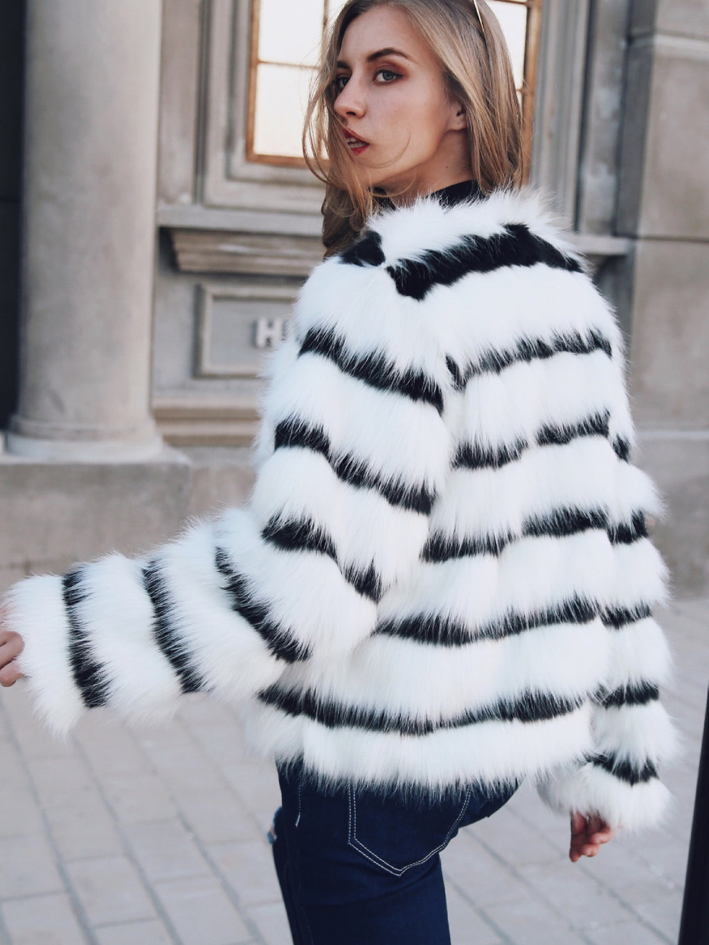 Black and White Striped Faux Fur Long Sleeve Coat