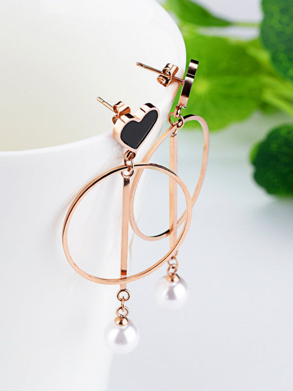 Love Earrings Temperament Long Personality Circle Earrings Delicate Pearl Ear Jewelry
