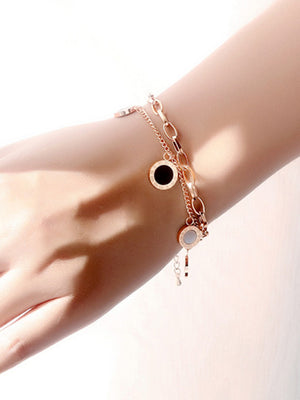 Titanium Steel Rose Gold Bracelet Fashion Wild Multi-layer Roman Numerals