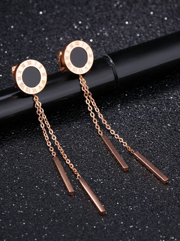 Simple Rose Gold Titanium Steel Roman Numerals Black Round Earrings